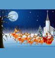 santa rides reindeer sleigh in front of church vector image vector image