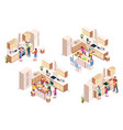 set 3d kitchen interiors with family cooking vector image