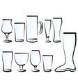 set of beer glasses vector image vector image