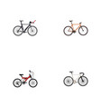 set of bike realistic symbols with teenager track vector image