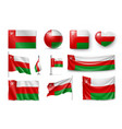 set oman flags banners banners symbols flat vector image vector image