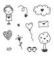 set valentines day doodles vector image vector image