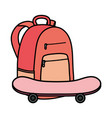 skateboard sport with schoolbag icons vector image vector image