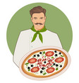 smiling mustachioed cook with a bandana around vector image