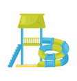 spiral tube water slide with staircase and pool vector image vector image