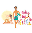summer vacation elements set vector image