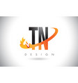 tn t n letter logo with fire flames design and vector image vector image