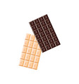 two bars of black and white chocolate isolated on vector image