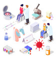 vaccine reserch isometric icons set covid19 vector image