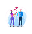 young loving couple in sanata hats making gifts vector image