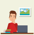 young man in workplace vector image