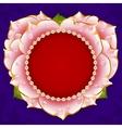 pink Rose heart frame vector image