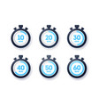 10 - 60 minutes stopwatch icon collection vector image