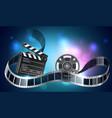 3d film reel or bobbin with filmstripe vector image vector image
