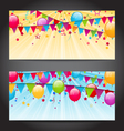 abstract banners with colorful balloons hanging vector image vector image