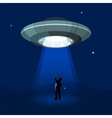 Aliens spaceship abducts the man under cloud of vector image vector image