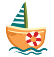 an orange and blue ship or color vector image