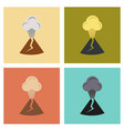 assembly flat icons nature volcano erupting vector image vector image