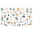 big collection hand drawn summer boho elements vector image