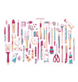 bundle hand drawn stationery or writing vector image vector image