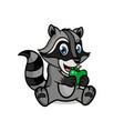cartoon character a cute raccoon with an apple vector image vector image