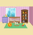 cartoon childrens room interior with kid toys vector image vector image