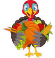 cartoon turkey holding fruits and vegetables vector image vector image