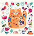 cat in flowers vector image vector image