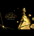 christmas and new year gold 3d pine tree card vector image vector image