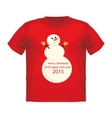 Christmas Greeting Card with snowman T-shirt vector image