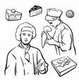 cook and piece cake set vintage symbols vector image