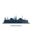 copenhagen skyline monochrome silhouette vector image vector image