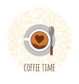 cup of coffee top view flat vector image