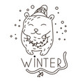 cute doodle bear carrying garland vector image vector image