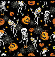 dancing halloween skeletons and pumpkins pattern vector image