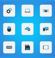 device icons colored set with tablet laptop vector image vector image