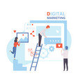 digital marketing creative team working on web vector image vector image