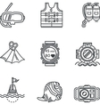 Diving black line icons vector image vector image