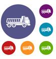 dumper truck icons set vector image vector image