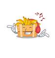 enjoying music banana fruit box cartoon mascot vector image vector image