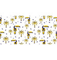 exotic toucan birds and palms seamless pattern vector image