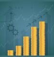 financial graph stacks gold coins vector image