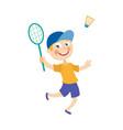 flat boy playing badminton shuttlecock vector image vector image