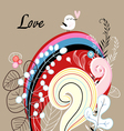 floral background with love bird vector image vector image