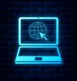 glowing neon website on laptop screen icon vector image vector image