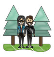 grated nice couple together with pine trees vector image vector image