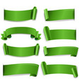 green silk ribbon isolated white background vector image vector image