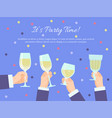 hands group holding glasses with champagne vector image vector image