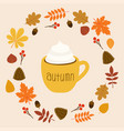 hello autumn cup coffee leaves on flat vector image vector image