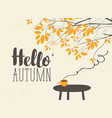 landscape on autumn theme with cup on the table vector image vector image
